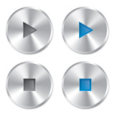Realistic metallic Play and Stop player buttons.