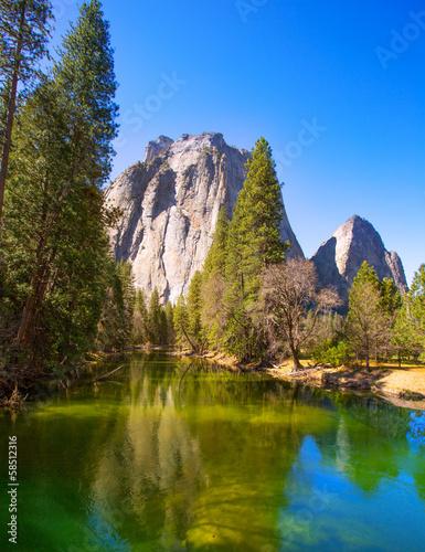 Yosemite Merced River and Half Dome in California