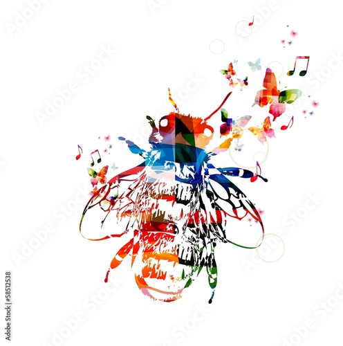 Deurstickers Geometrische dieren Colorful vector bee symbol with butterflies.