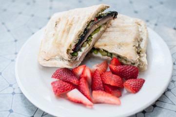 vegetarian sandwich with strawberries