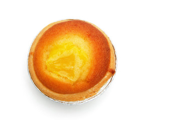 top view egg tart on white with clipping path