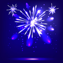Blue background with fireworks