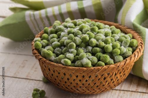 Frozen peas in bowl