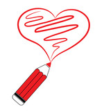 Red pencil drawing heart - Vector Illustration