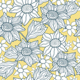 Floral seamless pattern with white flowers