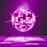 Purple Party background, disco ball