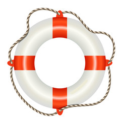 Lifesaver buoy isolated on white background