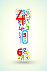 Exclamation mark , colored vector font from numbers