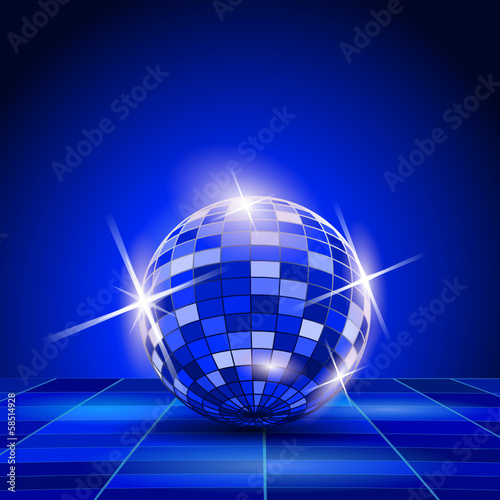 Blue Party background, disco ball
