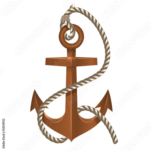 Old Anchor with Rope on white background