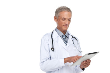 Old experienced doctor reading diagnose.