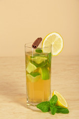 Drink with a lemon slice, stick of cinnamon and mint
