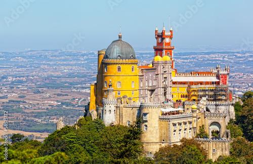 Aluminium Kasteel Aerial view of Palace da Pena. Sintra, Lisbon. Portugal.