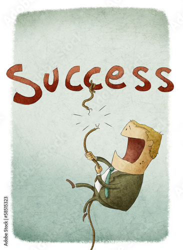 illustration of businessman falling from a success