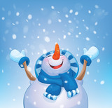 Vector happy snowman and snowfall.