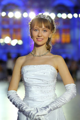 Portrait of girl in a ball gown on Kremlin Cadet Ball