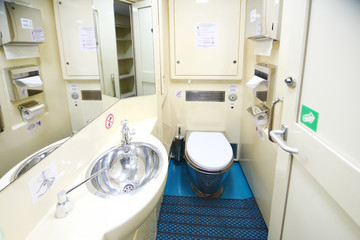 The toilet furnishings in the new two storey car