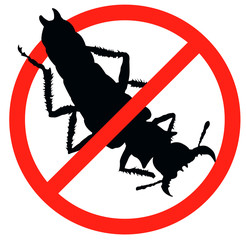 Bug vector silhouette isolated. Insect repellent emblem