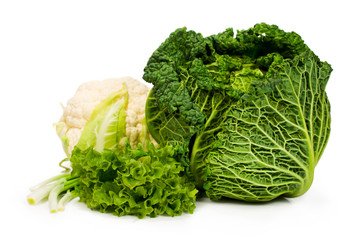 savoy cabbage and cauliflower , lettuce and green onion