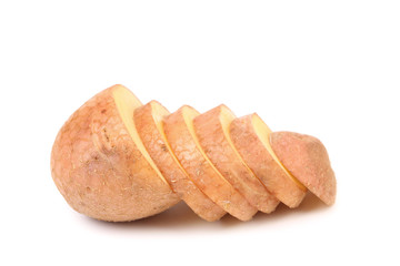 Close up of sliced yellow potatoes