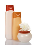 Fototapety Shower gel, shampoo and cream jar with flower