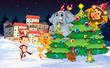 Animals near the christmas trees