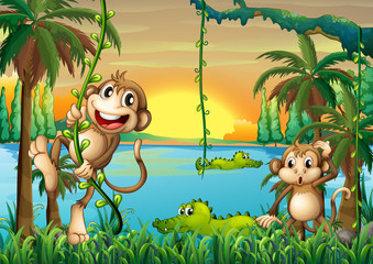 A lake with crocodiles and monkeys playing