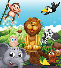 A lion above the stump surrounded with playful animals