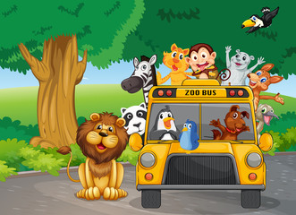 A zoo bus full of animals