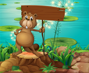 A beaver above the stump holding an empty signboard