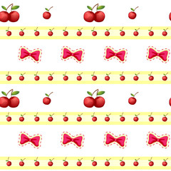 Seamless design with cherries and ribbons