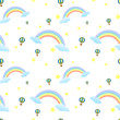 A seamless design with rainbows and floating balloons