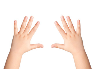 two children hands on an isolated background