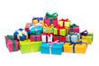 Leinwanddruck Bild - Bunte Geschenke vor weißem Hintergrund
