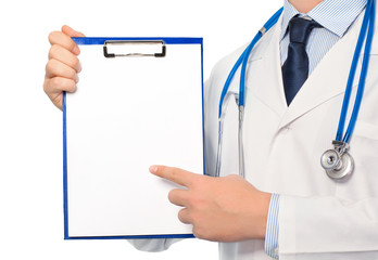 The doctor in a white coat with a stethoscope holding a folder w