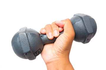 hand holding rusty dumbbell isolated on white