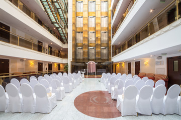 A large empty hall for a wedding ceremony.