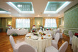 Beautiful hall with in restaurant decorated for wedding