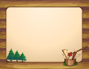 A template with pine trees and chopped woods