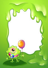 A baby monster with a balloon in front of the empty template