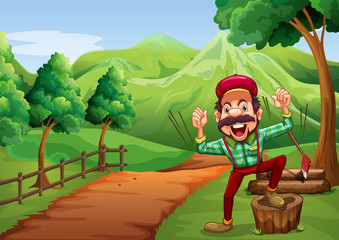 A cheerful woodman near the pathway going to the hill