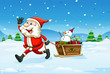 A cheerful Santa with a wooden sleigh