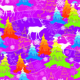 Holiday seamless pattern with deer and Christmas tree