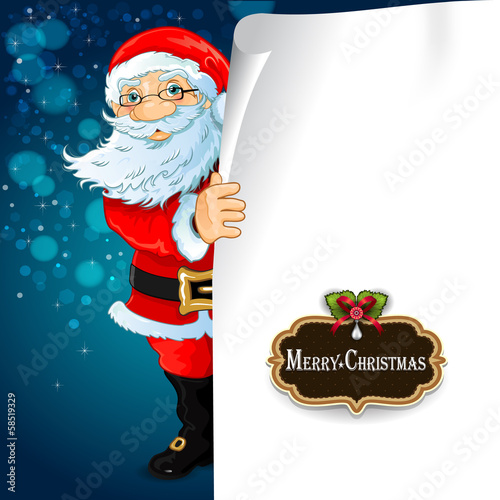 Santa Claus with blank sheet