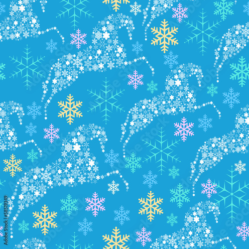 seamless pattern with horses from snowflakes