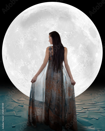 Ice princess walking into the moon