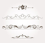 Set of four calligraphic design elements and page decoration