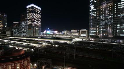 東京駅のホーム (新幹線をはじめ様々の列車が発着する)