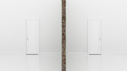 section of twin white  room  ,3d