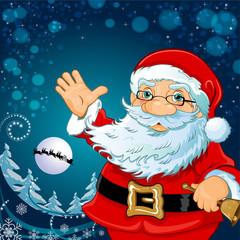 Santa Claus with blue snowy landscape